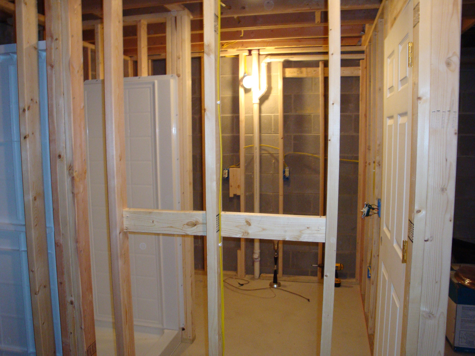 shower under construction