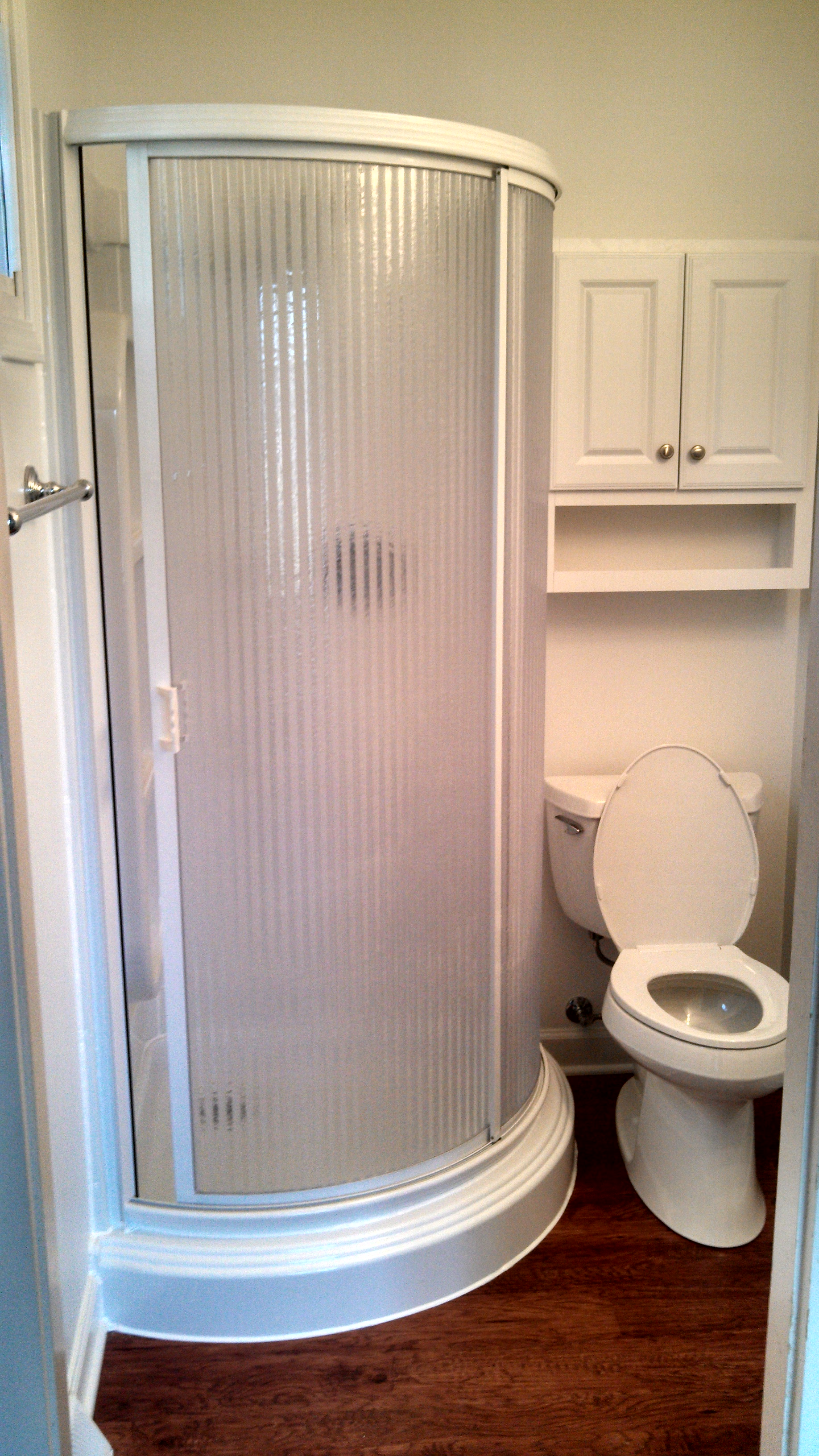 new shower and toilet