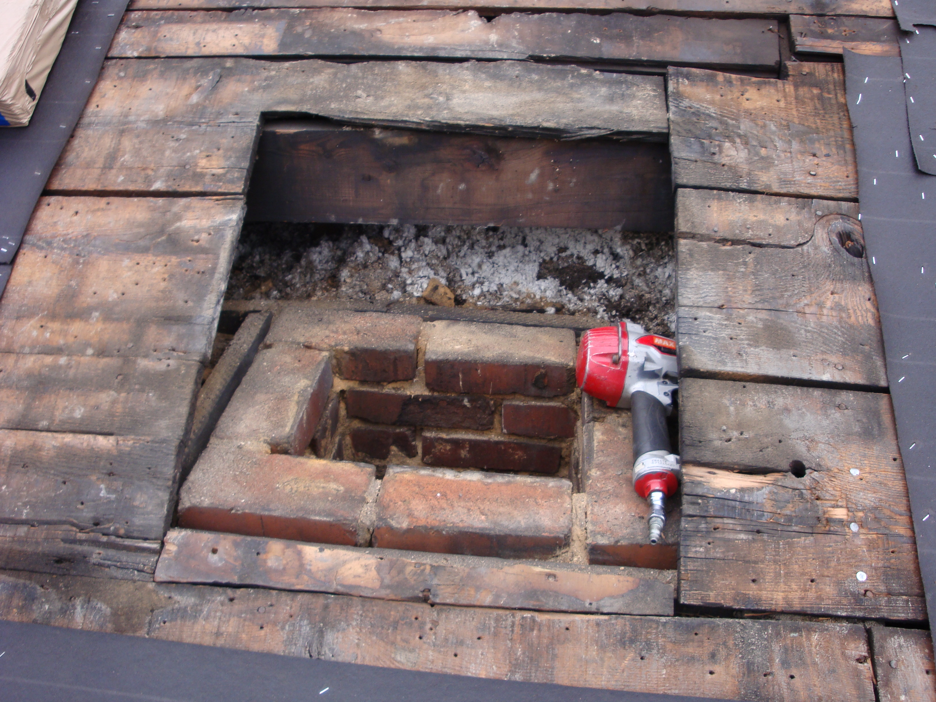 chimney being repaired