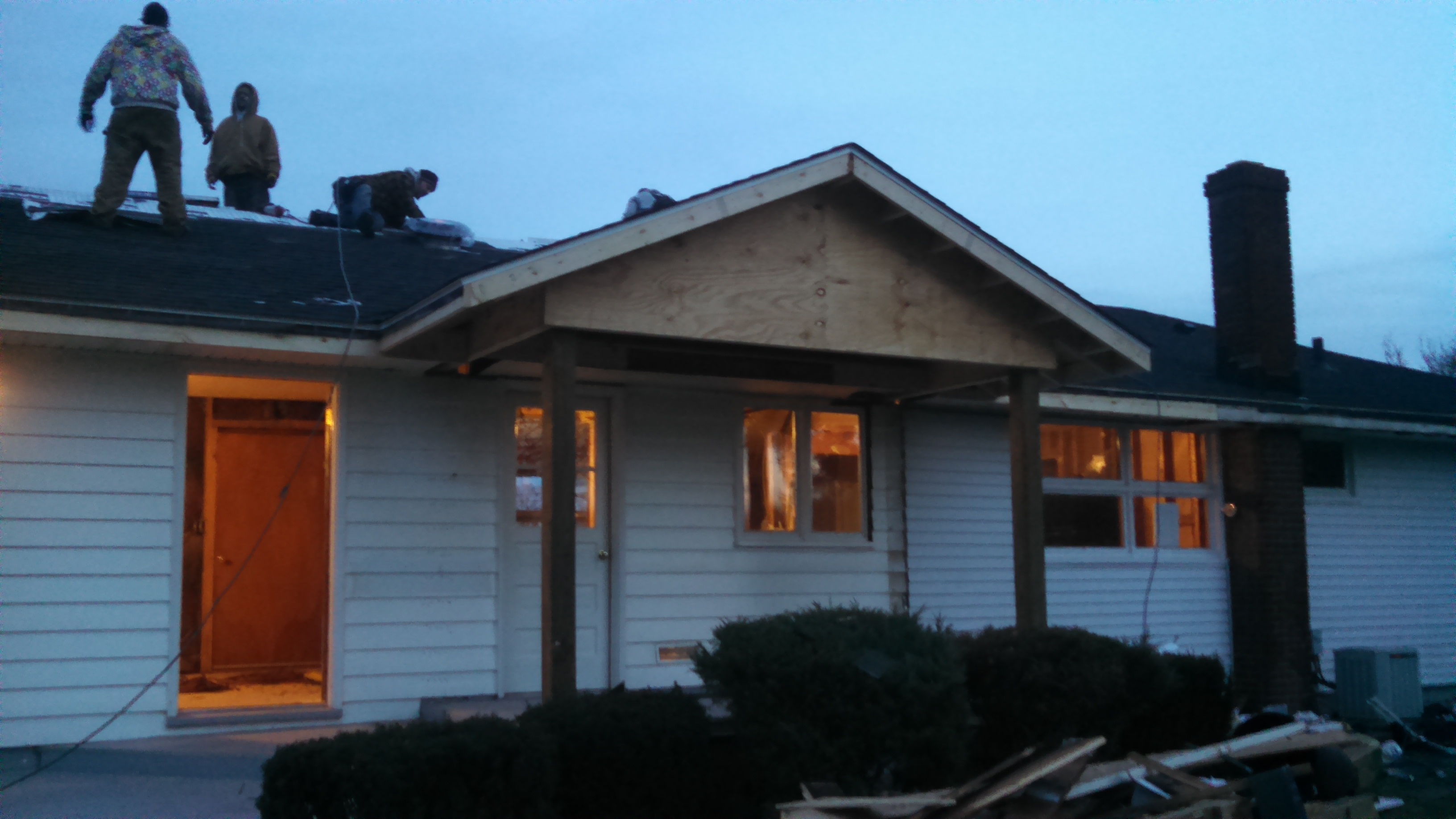 Finished roofing on gable